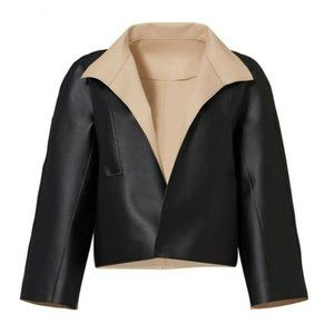 JOSIE NATORI Black and Nude Faux Leather Jacket